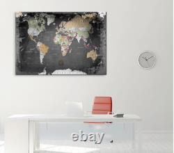 Canvas Wall Art Hanging World Map Compass 80 x 120 x 2cm NEW (N)