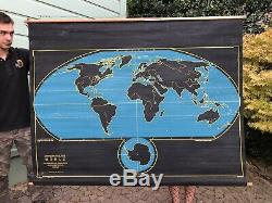 Cartocraft Slated Map Two Sided World and North America, Collectible, Vintage