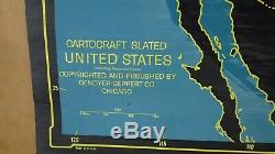 Cartocraft Slated Map United States Chalk writable Pull Down Collectible Vintage
