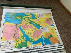 Classic Nystrom 16 Maps! 1KW1-16 Pull Down Flip World Map Wall Mount-Amazing