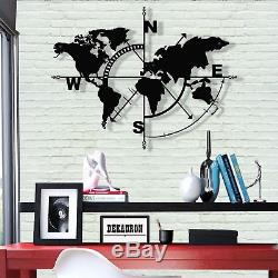 Compass Metal World Map 3D Metal Wall Decor Home Office Living Room Decoration
