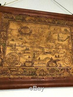 Cowhide Wall hangings Tapestry Antique World Map by Brazilian unknown artist