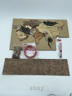 Creed Maps Wooden Map Of The World Wall Decoration Handmade OPEN BOX
