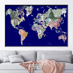 Currency World Map Antique and Vintage World Maps Canvas Art Print for Wall Deco