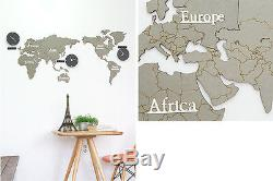 Eco-friendly MDF DIY Wood World Map Time Non-Ticking Silent Wall Clock Gray