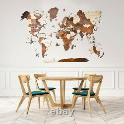 Enjoy The Wood 3D Wooden World Map 5th Anniversary Gift Home Decor Wall Decor