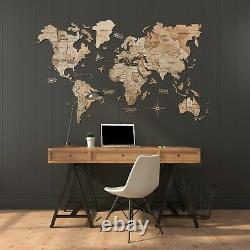 Enjoy The Wood 3D Wooden World Map Home Wall Decor L SIZE 59 x 35 NEW