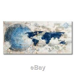 Everfun Hand Painted Large Modern Canvas Wall Art World Map Blue and White Earth