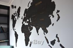 Exclusive Laser Large Black Wooden World Map Home Art Decor Wall Art 3 Size