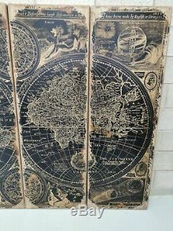 Explorers Giant Oversized Wooden Set of Four World Map Wall Decor 240cm Wide