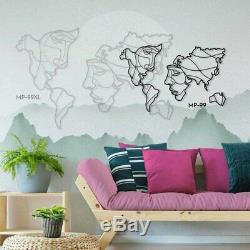 Faces of the World Map Metal Wall Art 2 Sizes 94x146cm