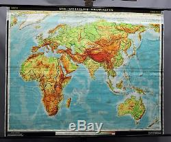 Fantastic school world map rollable wall chart picture Eastern half of the earth