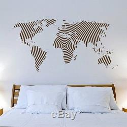 Finger Print World Map Large Wall Decal Black Contemporary Maps