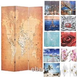 Folding Room Divider Wall Partition Privacy Screen Sperator Wooden Frame 4 Sizes