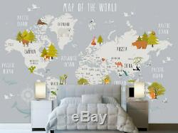 Forest Animal World Map Removable Wall Mural Paper Vinyl Sticker Kids Home Decor