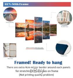 Framed 5 Panels World Map Abstract Painting Silver Canvas Wall Art Home Decor