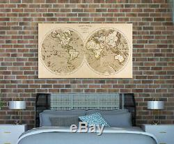 Framed Canvas Print Stretched World Map Antique Old Wall Art Home Office Decor