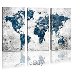Framed Wall Art Map of the world Watercolor Abstract World Map Wall Decal Large