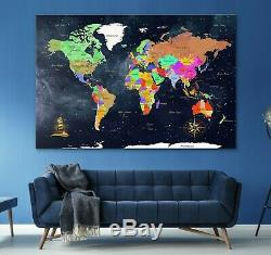 Framed Wall Art for Living Room Extra Large Wall World Map, Home Office