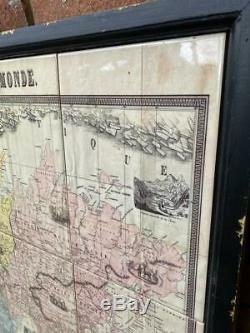 Framed Wall Hanging Picture Ceramic Vintage Globe World Map 107cm x 97cm