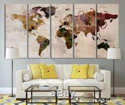 Funy Decor Large Canvas Print Rustic World Map, Wall Art, Extra Vintage Map