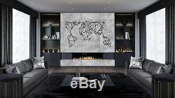 Geometric Metal World Map with Frames and Sticker Rods Set Metal Wall Decoration