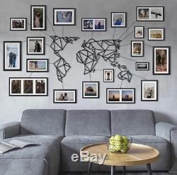 Geometric World Map Metal Decor Frames And Wires Wall Art Home Decoration