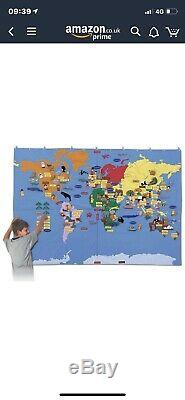 Giant Fabric Wall Hanging World Map With Detatchable Pieces