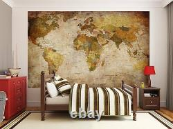 Giant World Map Poster Vintage Retro Photo Wall Paper Mural Hanging Large Globe