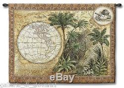 Global Safari Old World Map Wall Tapestry With ROD 53x43 Antique Vintage