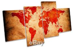 Grunge World Map Red Picture MULTI CANVAS WALL ART Print
