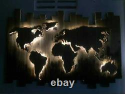 Handmade illuminated wall hangings in the shape pf a world map great design USA