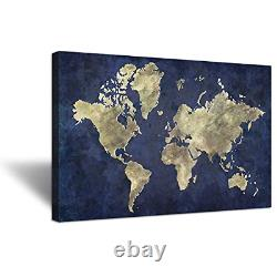 Hello Artwork Large Size Navy Blue World Map Canvas Wall Art The Picture Vintage