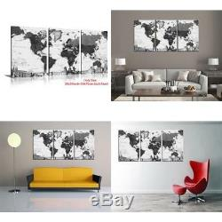 Hlj Arts 3 Panels World Map Black And White Picture Canvas Print Wall Art Painti