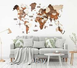 Home Decor World Map Wood Map Wooden Map Wall Map Wood Wall Art L Size 150x90