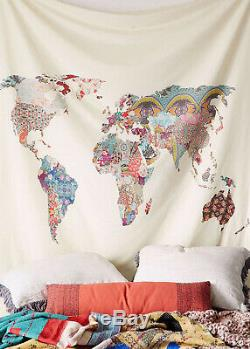 Indian Wall Tapestry Hippy Mandala Bedspread World Map Bedroom Wall Decoration