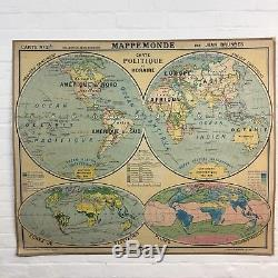 Industrial Vintage Hatier Hanging School Wall Map World Vidal Lablache