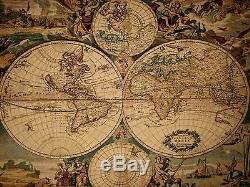 Joan Blaeu (1596-1673) Map Of The World Fully Lined 55 Tapestry Wall Hanging