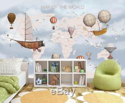 Kids World Map 3D Wallpaper Wall Mural Wall Sticker Removeable Self-adhesive 4