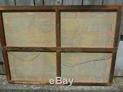 LARGE Vintage WORLD MAP textile wall framed decorative FRENCH teaching school