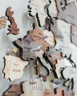 LED World Map Wooden Wall Map Anniversary Gift For Her World Map Wooden