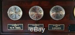 Larg World Map Time Zones Solid Wood Wall Clocks by Hubbard Scientific