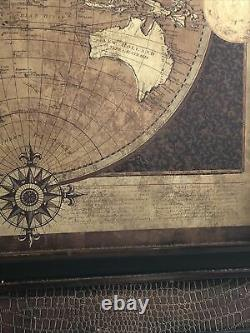 Large 24x24 Framed Wall Hanging Wooden Map- Rustic/vintage Look. World Map