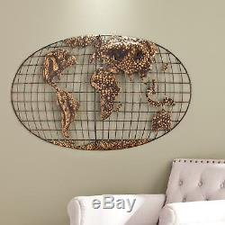 Large 3-D World Map Wall Art Sculpture Iron Metal withBrushed Gold Rustic Finish