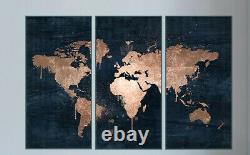Large Abstract world Map Black Gold Drip Effect Canvas Poster Wall Art Large