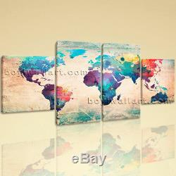 Large Canvas Wall Art Map Hd Print Retro World Extra Abstract Design