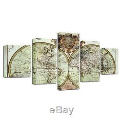 Large Framed World Map Retro Vintage 5 Piece Canvas Wall Art Home Decor