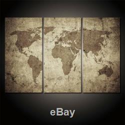 Large Framed World Map Rustic Look Canvas Print Wall Art Home Decor 3 Piece