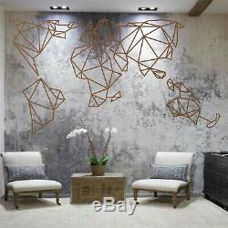 Large Geometric Metal World Map Metal Wall Art Decor Home Living Room Decoration