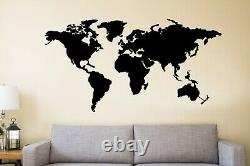 Large Metal World Map Continents Wall Art Office Living Room Decoration 5143